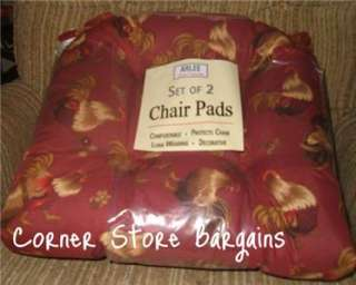 ... PC Rooster Chair PADS Country Rooster Chair Cushions Set Kitchen ...