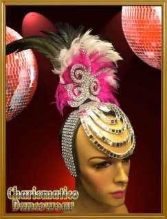 CHARISMATICO PINK DIVAS CABARET DRAG QUEEN FEATHER DIVA SMALL HAT HAIR
