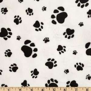 58 Wide Versailles Minky Paws Print White/Black Fabric