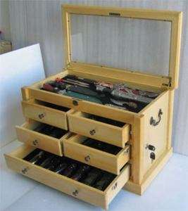 LARGE Knife Display Cabinet Chest, Shadow Box Top