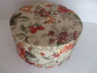 New Small Round Victorian Floral Fabric Covered Box 6 3/4 dia.