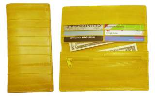 Genuine Eel skin Leather Slim Wallet with coin Purse Wallet 15 Colors