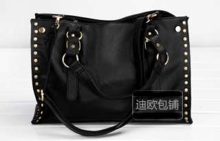 Punk Studded Women Shoulder Bags Handbag Tote Black x7