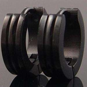 Simple Black Lines Stainless Steel Stud Hoop Mens Earrings