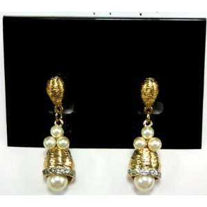 Gold Plated Clustered Faux Pearl Bell Teardrop Earring
