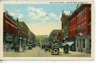 PENNSYLVANIA DOWNTOWN STREET SCENE ANTIQUE VINTAGE POSTCARD STORES PA