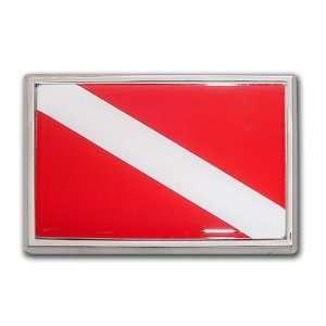 Dive Flag Chrome Emblem Car Size