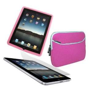 Laptop Dual Pocket Carrying Case PINK Pink Silicone Skin Case for