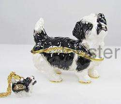 SHIH TZU DOG FINE ENAMEL TRINKET BOX with AUSTRIAN CRYSTAL INCLUDES
