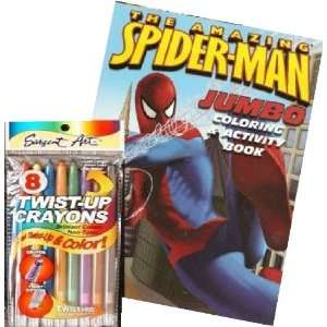Spider man Coloring Book and Twist up Crayons Set Toys