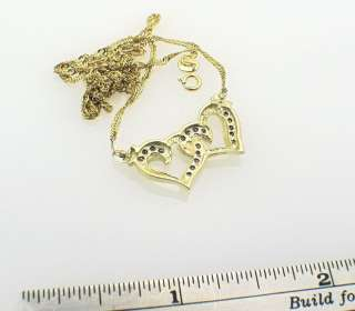 10k Yellow Gold Diamond Heart Charm Pendant Necklace