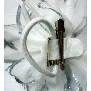 NEW Silver Glitter Flower Hair Clip Pin and Band, Limited. Beauty