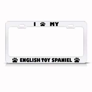English Toy Spaniel Dog White Metal license plate frame