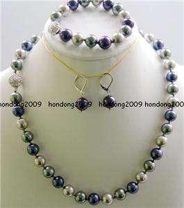 10MM Sea Shell Pearl Necklace Bracelet Earring SET
