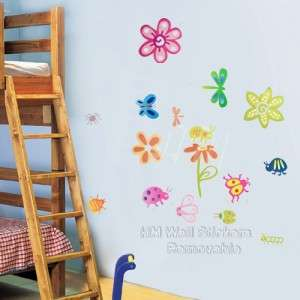 CUTE INSECTS,BUGSFLOWERS Kids Removable Wall Sticker For Kids Room
