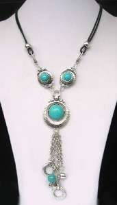 NEW IN TIBET STYLE TIBETAN SILVER TURQUOISE NECKLACE