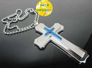 Mens big Pendant Stainless Steel cross chain Necklace