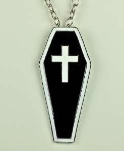 HUGE COFFIN w/ CROSS NECKLACE GOTHIC CEMETERY GRAVEYARD