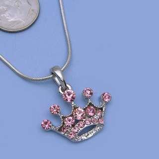 Small Pink Princess Crown Tiara Pendant Necklace n564