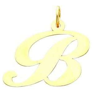Fancy Cursive Letter B Charm 14K Gold: Jewelry
