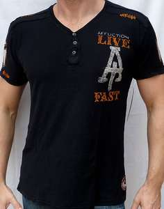 Affliction American Customs LIVE FAST CUSTOMS Henley NEW A4320   Black