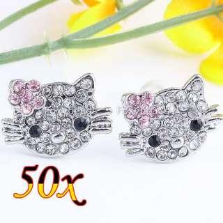 PINK CRYSTAL FLOWER KITTY*CAT EARRING EAR STUD CUTE HELLOKITTY