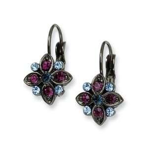 Purple, Light & Dark Blue Crystal Flower Earrings Jewelry
