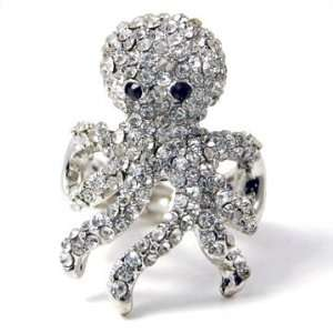 Beautiful Crystal Avenue Ice Crystal Octopus Ring on Stretch Band