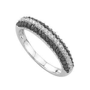 14k White Gold Round White & Black Diamond Band Ring