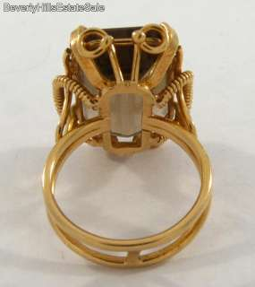 Large Emerald Cut 12C Topaz 18k Gold Art Deco Ring