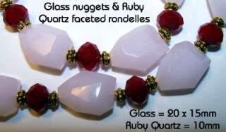 Soft Pink Glass Nuggets~Faceted Ruby Quartz~Chunky Necklace & Stretch