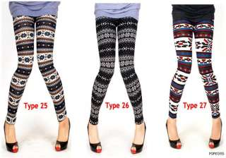 NEW Women Wool Blend Nordic Patterns Thermal Fall Knitted Leggings