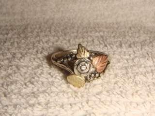 Vintage WM Co Sterling Silver & 12Kt Gold Rose Ring