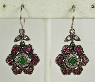 Art Deco 1.54ctw Emerald, Ruby & White Sapphire Rose Gold/925 Earrings