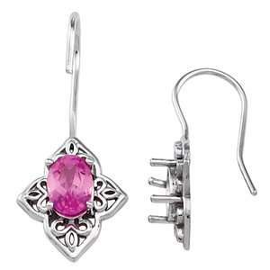 14K White Gold Chatham Created Pink Sapphire Earrings