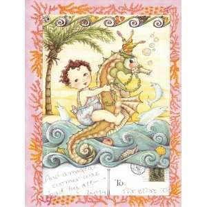 Blank Note Cards Baby Riding a Seahorse At the Beach with Dolphins