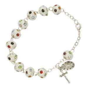 8mm Metal Multi Color Stone Rosary Beads Bracelet with