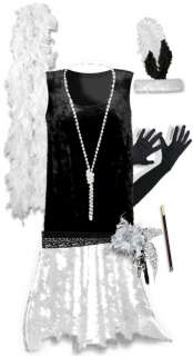 Black / White Roaring 20s PLUS SIZE Flapper Dress Halloween Costume