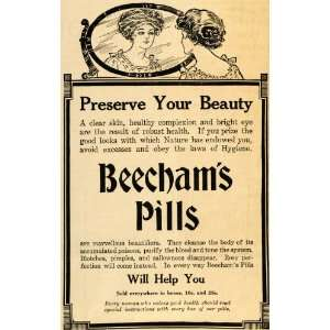 1911 Ad Beechams Pills Preserve Beauty Skin Complexion