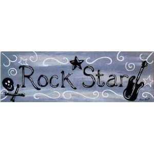 Rock Star Guitar Wood Sign Plaque