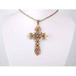 Orange Topaz Crystal Rhinestone Flower Floral Cross Necklace Jewelry