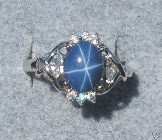 CORNFLOWER BLUE STAR SAPPHIRE CREATED RING CAPTURED HEART RHOD SS