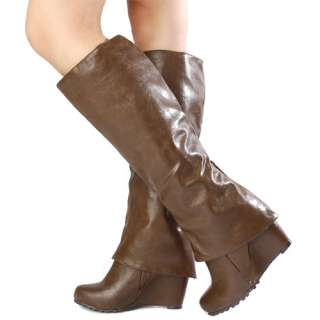 Fold Over Cuff Womens LIGHT BROWN Knee High Wedge Boots