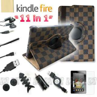For Kindle Fire 360°Rotating Case Cover/Car Charger/USB Cable/Stylus