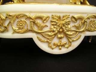 ANTIQUE FIGURAL GILT BRONZE CLOCK with BACCHANTES BY SAMUEL MARTI