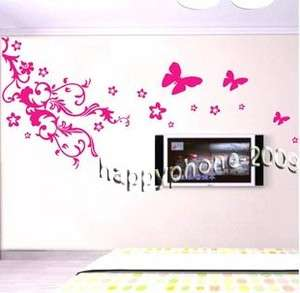 DIY 150*75cm Wall Paper&Art Sticker Butterfly flower 01