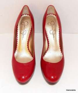SEXY! JESSICA SIMPSON RED LEATHER PLATFORM PUMPS, Round Toe, sz 7 B
