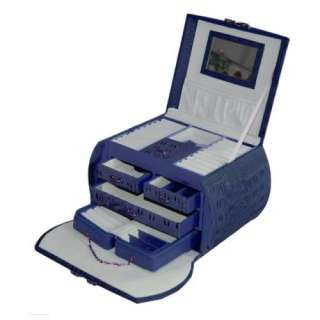 New Large Round Leather Travel Case Jewelry Box   Blue