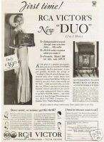 1933 RCA Victor Radio Phonograph Lady Dress Vintage Ad