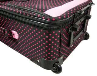 Pc. Black / Hot Pink Polka Dot Luggage Set Pink Trim